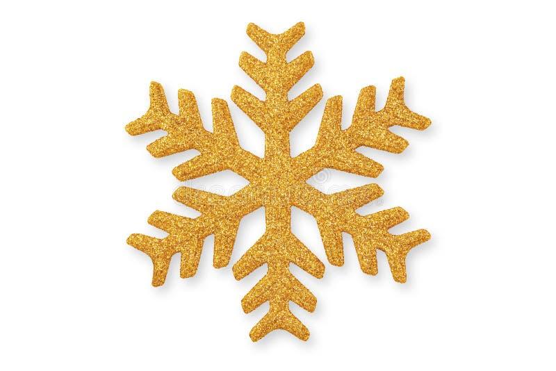 Floco de neve dourado do Natal, ornamento do Natal no whit imagens de stock