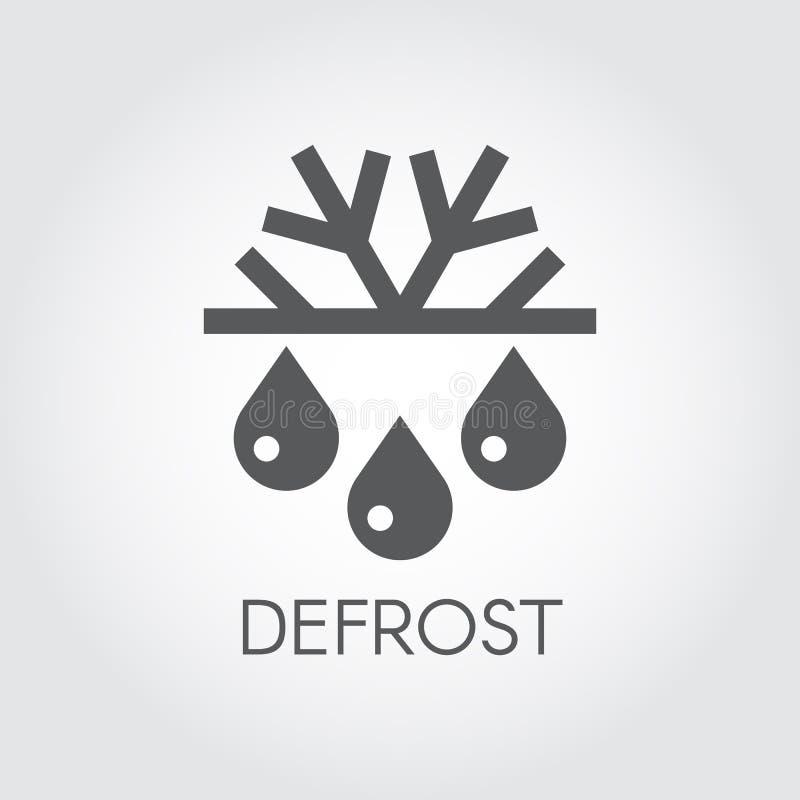 Floco de neve e ícone liso da gota Símbolo do degelo, do condicionamento de ar e da mudança do conceito das estações ilustração do vetor