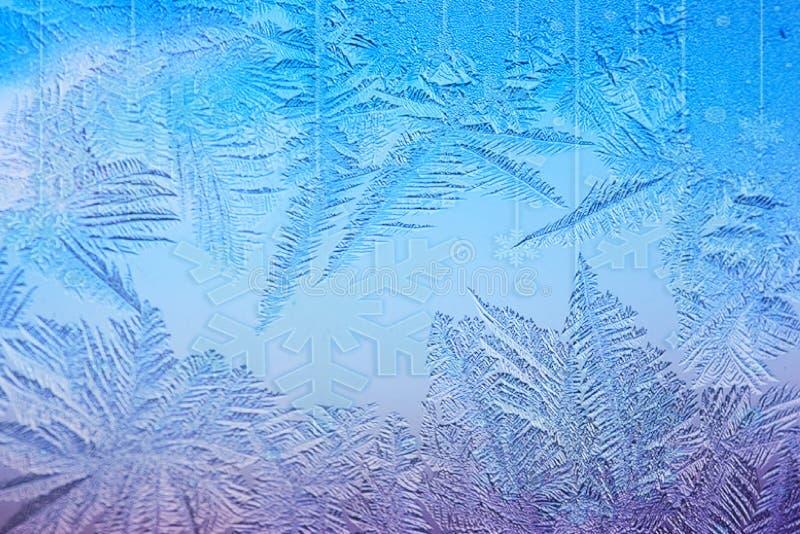Floco de neve e geada do Natal imagem de stock