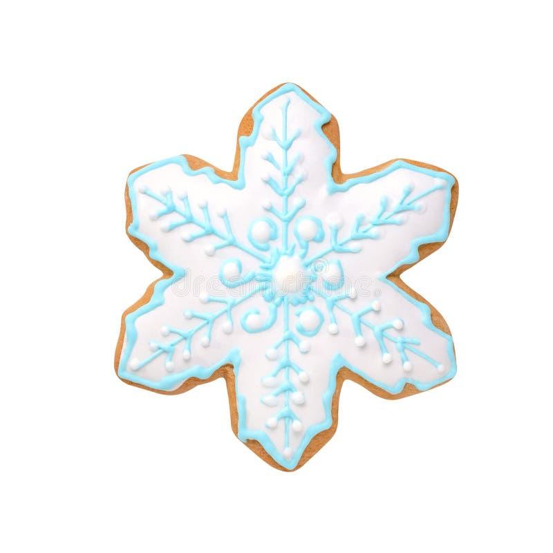 Floco de neve feito a mão da cookie do pão-de-espécie do Natal isolado no branco fotografia de stock