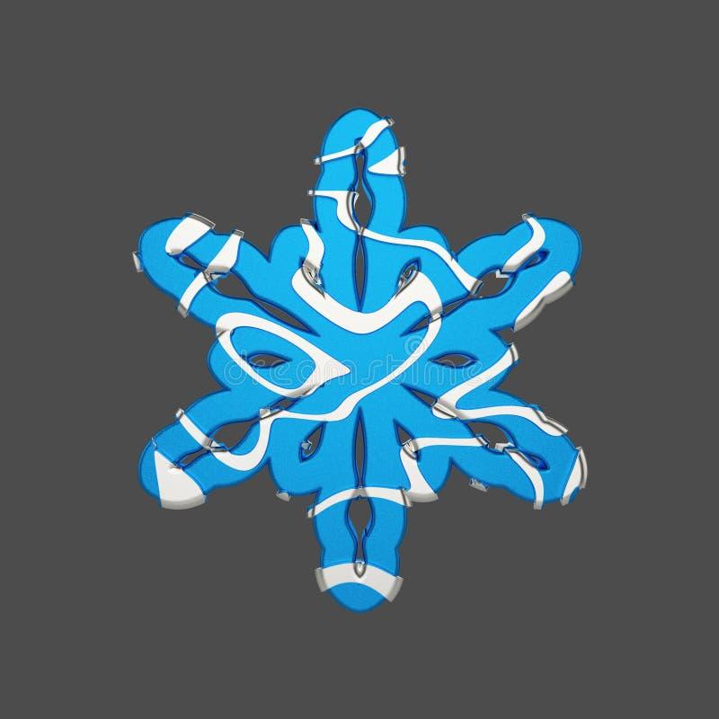 Floco de neve festivo na prata e no estilo azul isolado no fundo cinzento Elemento do Natal nas linhas macias abstratas de prata ilustração stock
