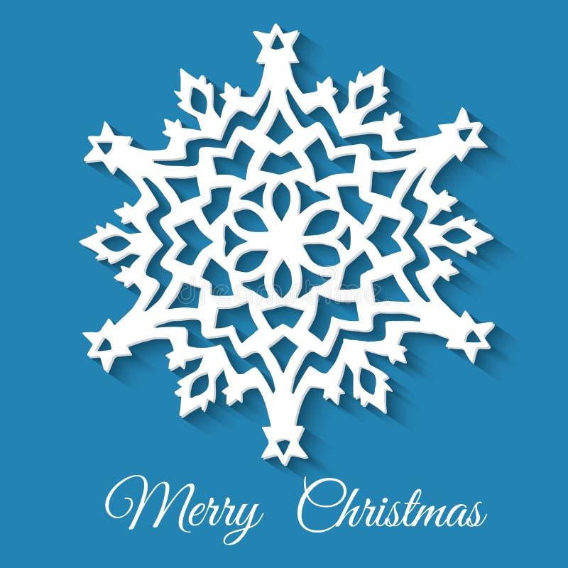 Floco de neve de papel do Natal no fundo azul ilustração do vetor