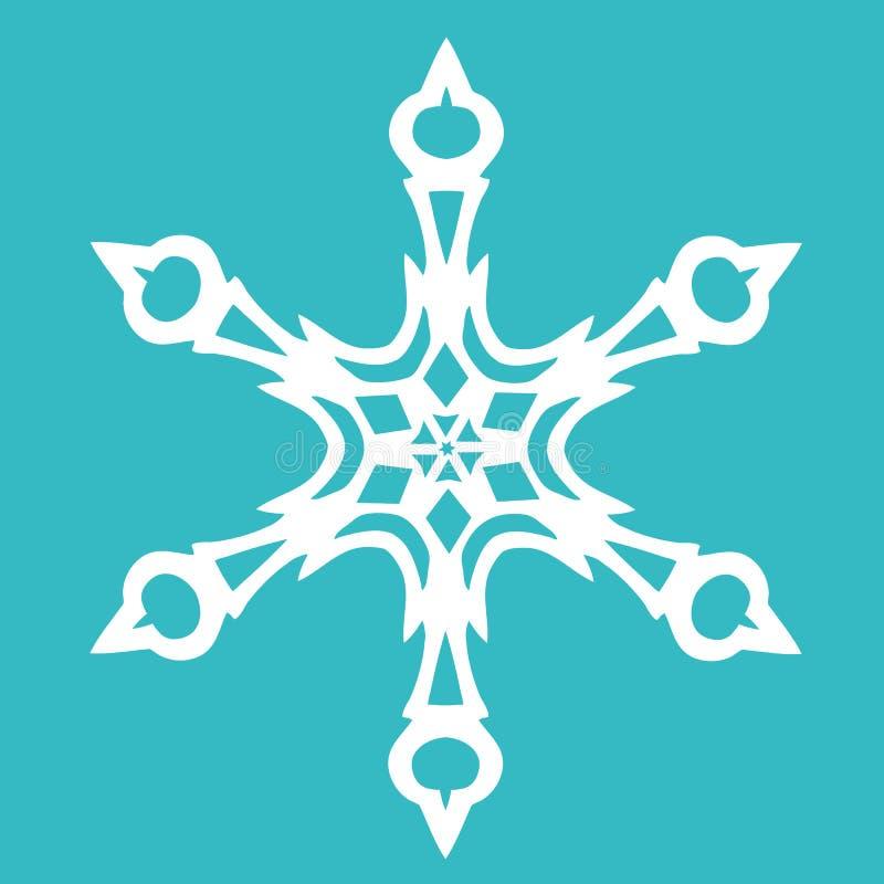 Floco de neve de papel do Natal no fundo azul ilustração royalty free