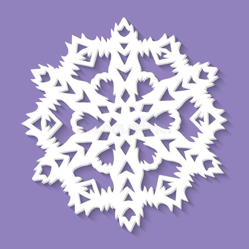 Floco de neve de papel do Natal no fundo ultravioleta ilustração do vetor