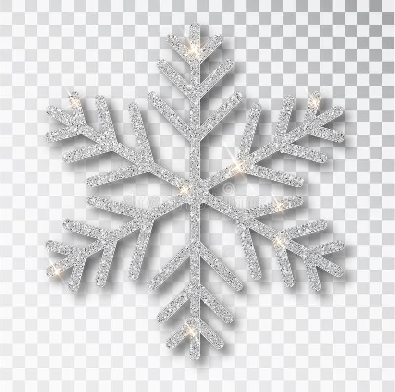 Floco de neve de prata isolado em um fundo transparente A decora??o do Natal, cobriu o brilho brilhante Brilho de prata ilustração royalty free