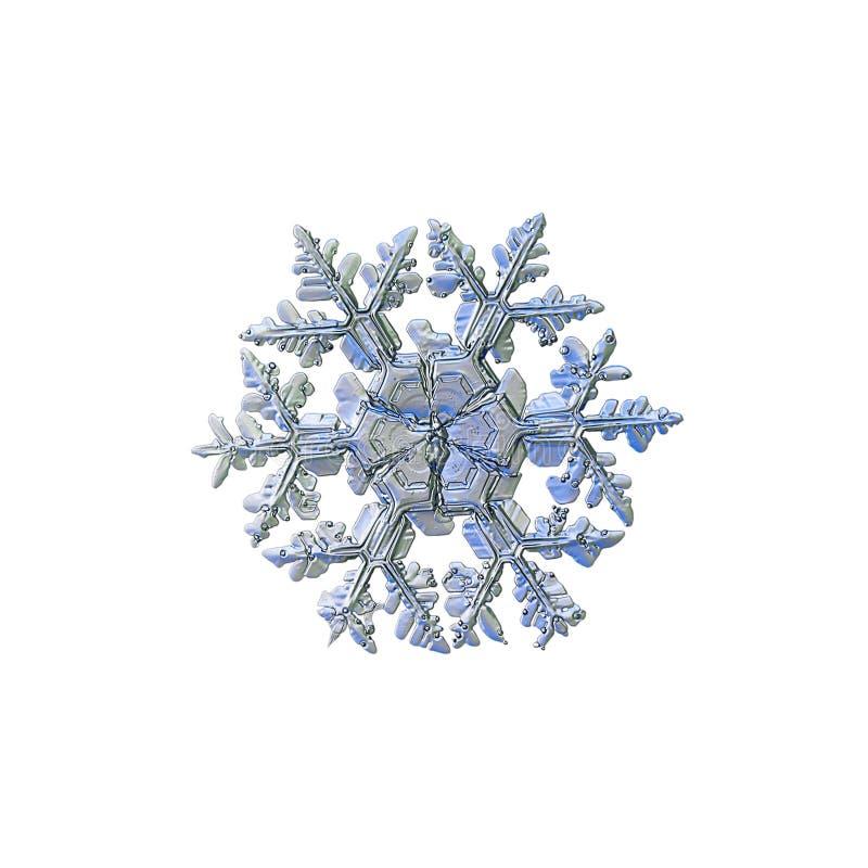 Floco de neve real isolado no fundo branco imagens de stock royalty free