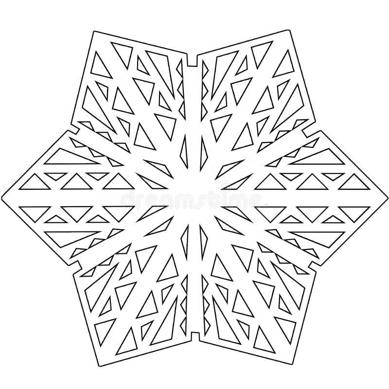 Floco de neve simétrico decorativo preto e branco do vetor isolado no branco ilustração royalty free