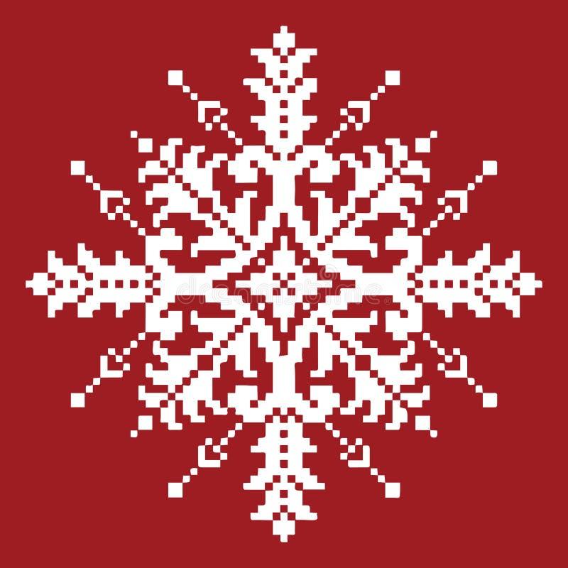 Floco de neve transversal branco do ponto no vermelho Natal tradicional Ornam ilustração royalty free