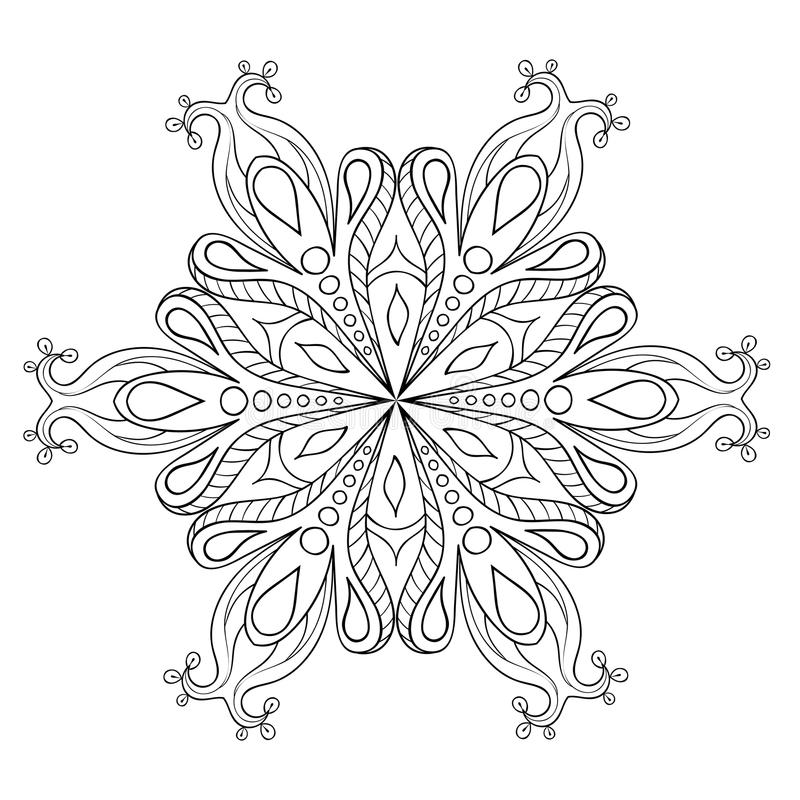 Flocon élégant de neige de Zentangle Illustrat ornemental d'hiver de vecteur illustration libre de droits