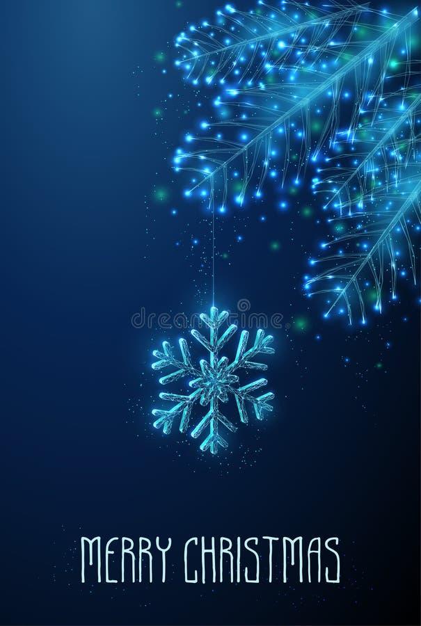 Flocon de neige abstrait accroché à la branche de sapin illustration de vecteur