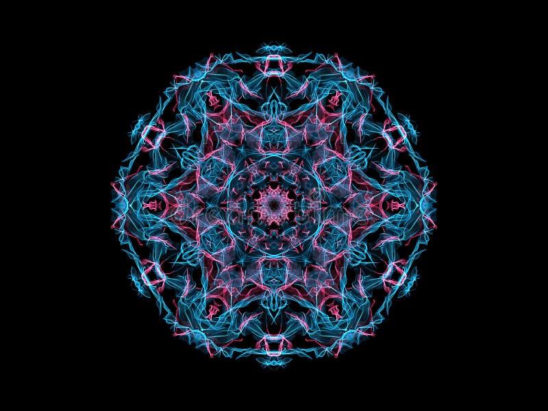 Flocon de neige abstrait bleu et rose de mandala de flamme, modèle rond floral ornemental sur le fond noir Th?me de yoga illustration stock