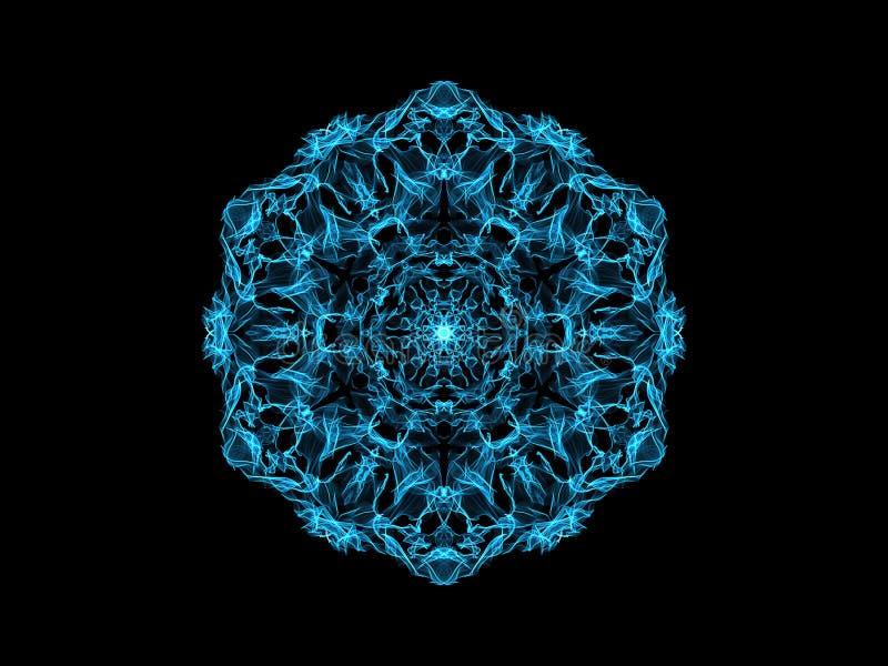 Flocon de neige abstrait bleu de mandala de flamme, mod?le rond floral ornemental sur le fond noir Th?me de yoga illustration stock