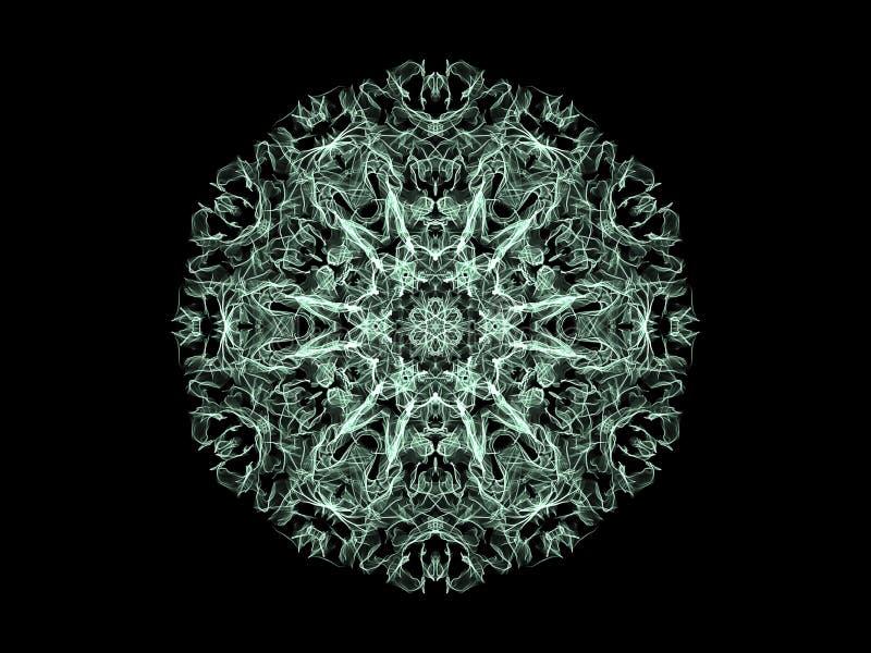 Flocon de neige abstrait de mandala de flamme, modèle rond floral ornemental sur le fond noir Th?me de yoga illustration de vecteur
