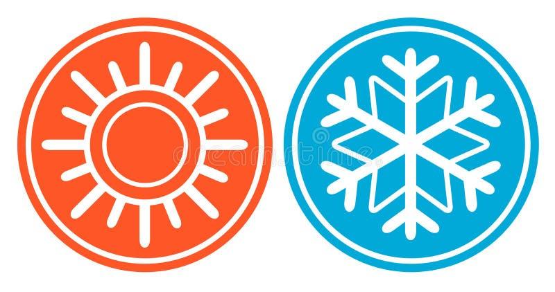 Flocon de neige avec le soleil - icône de détail de saison illustration libre de droits