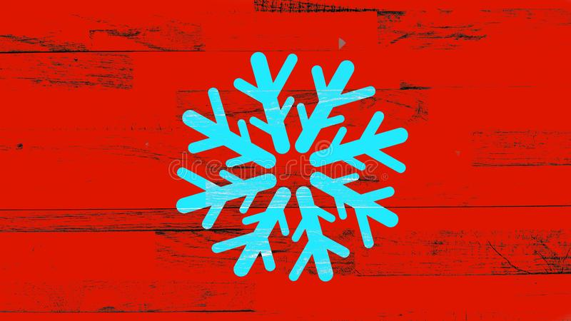 Flocon de neige bleu sur le fond rouge de cru illustration libre de droits
