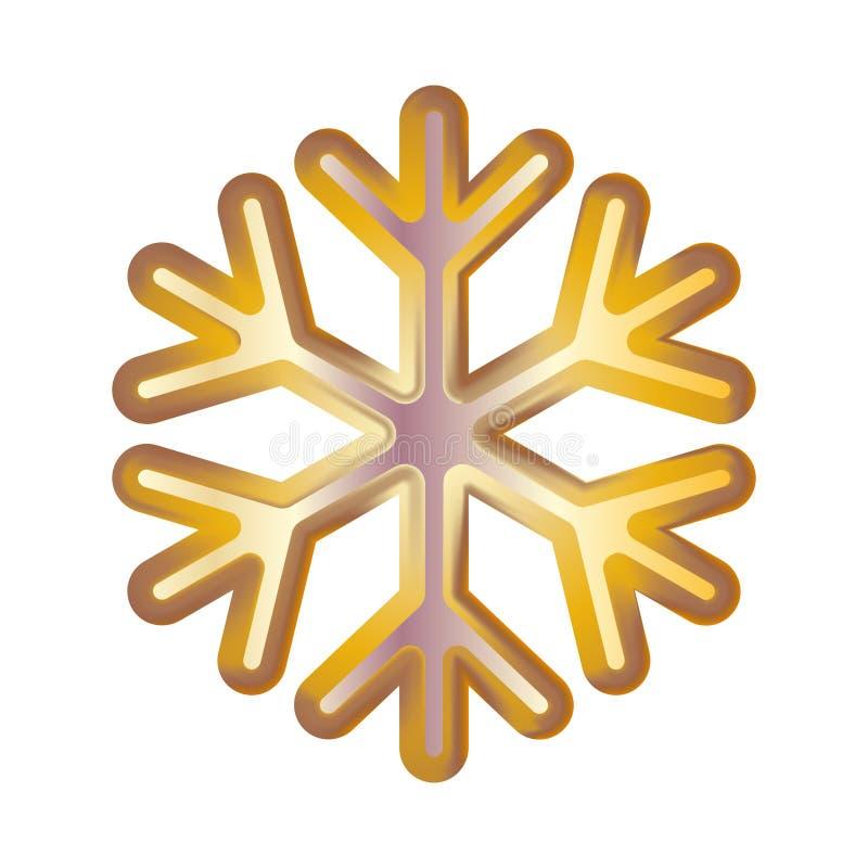 Flocon de neige d'or Éclairage modéré volumétrique sur un fond foncé kit Illustration de vecteur illustration de vecteur