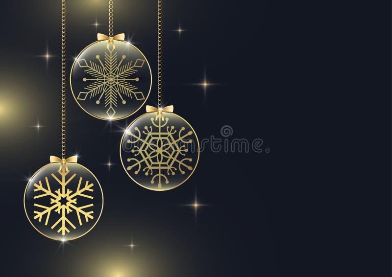 Flocon de neige d'or en accrochant le verre brillant avec des étoiles sur le fond noir illustration stock