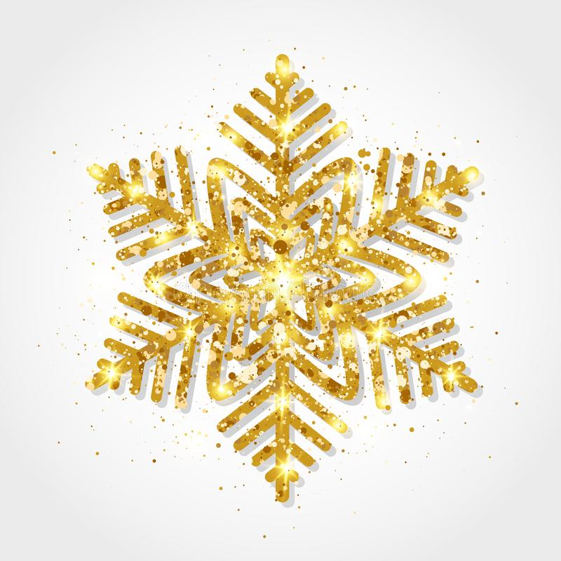 Flocon de neige d'or de scintillement sur le fond blanc Flocons de neige d'or rougeoyants avec la texture de scintillement Flocon illustration libre de droits