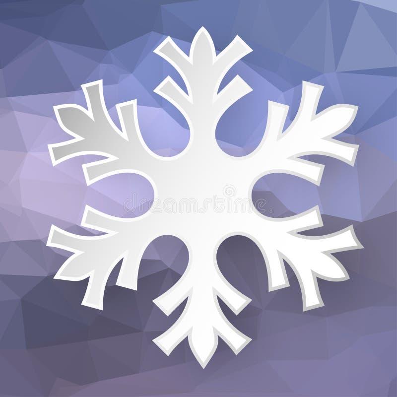 Flocon de neige de papier au-dessus de fond géométrique illustration libre de droits