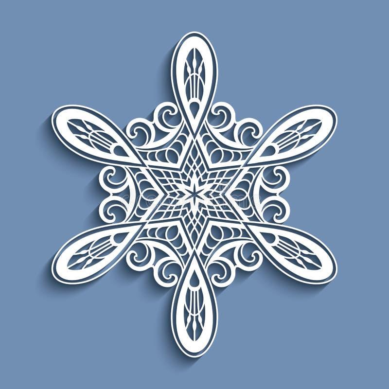 Flocon de neige de papier de dentelle de coupe-circuit, ornement de crochet illustration libre de droits
