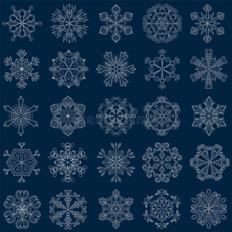 Flocon de neige de vintage de vecteur réglé dans le style de zentangle sno de 25 originaux illustration de vecteur