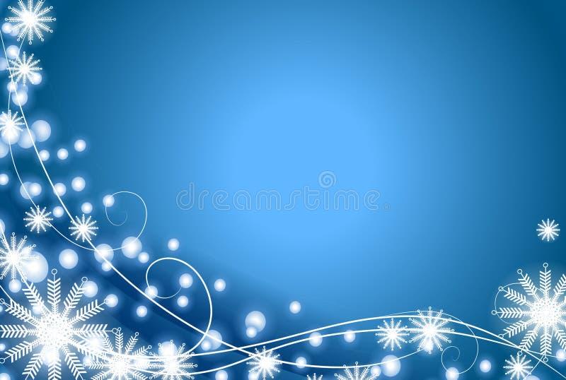 Flocon de neige et fond de bleu de lumières illustration libre de droits