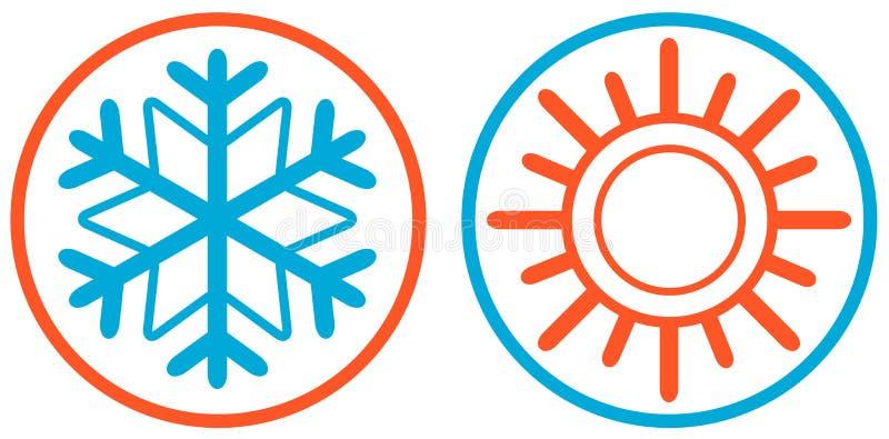 Flocon de neige et icône d'isolement par soleil illustration de vecteur