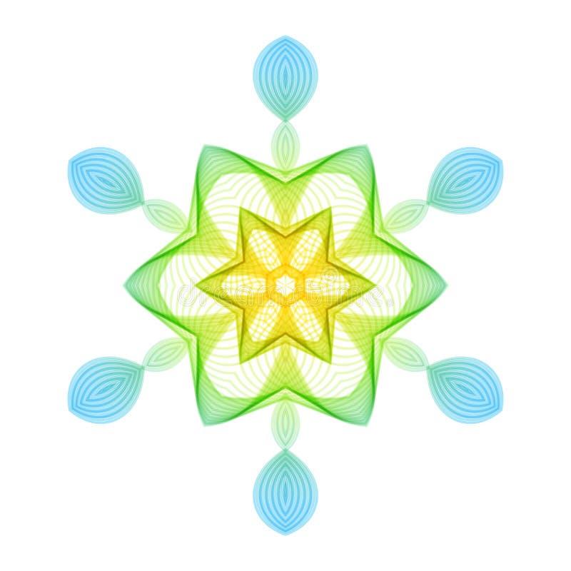 Flocon de neige hexagonal stylisé géométrique sur le fond blanc illustration de vecteur