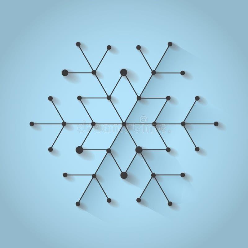 Flocon de neige de Noël de Minimalistic sur le fond bleu avec l'ombre Poly thème simplement bas d'hiver illustration stock