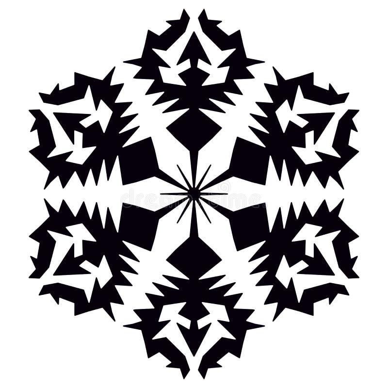 flocon de neige noir Graphisme de vecteur Élément en cristal de flocon de neige de Noël de noir d'hiver Collection de glace d'ill illustration de vecteur