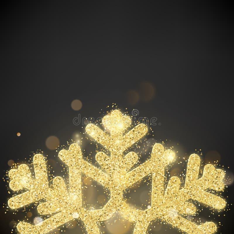 Flocon de neige de scintillement d'or couvert par scintillement Bonne année d'invitation et calibre de carte de Noël ENV 10 illustration libre de droits