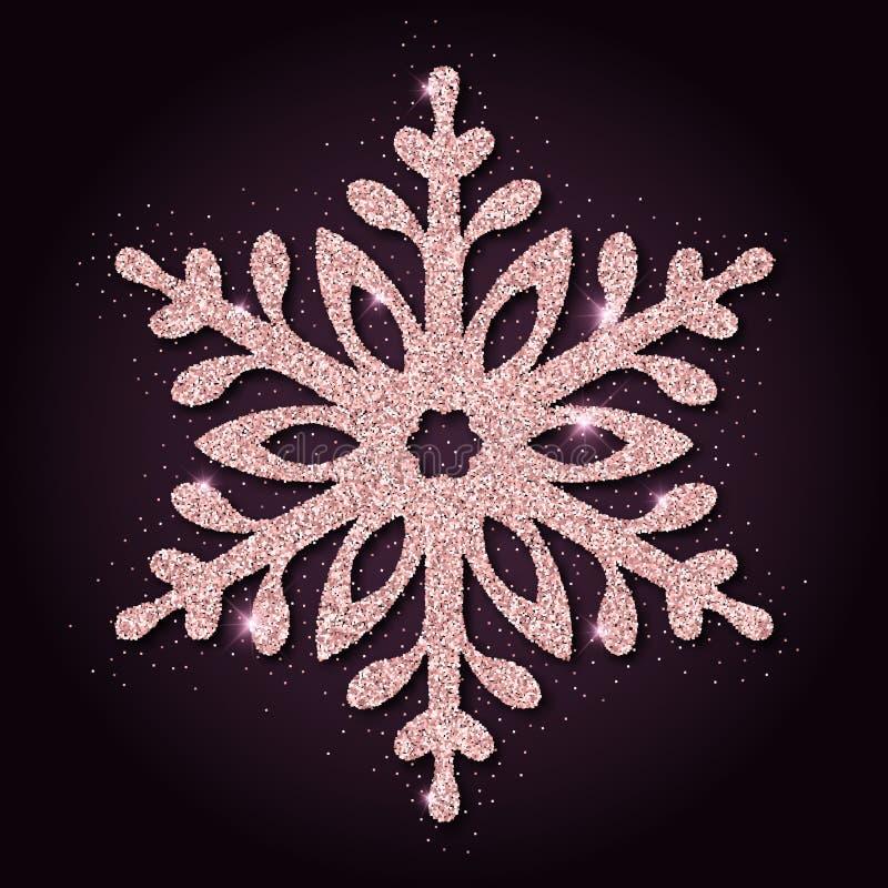 Flocon de neige stupéfiant de scintillement d'or rose illustration libre de droits