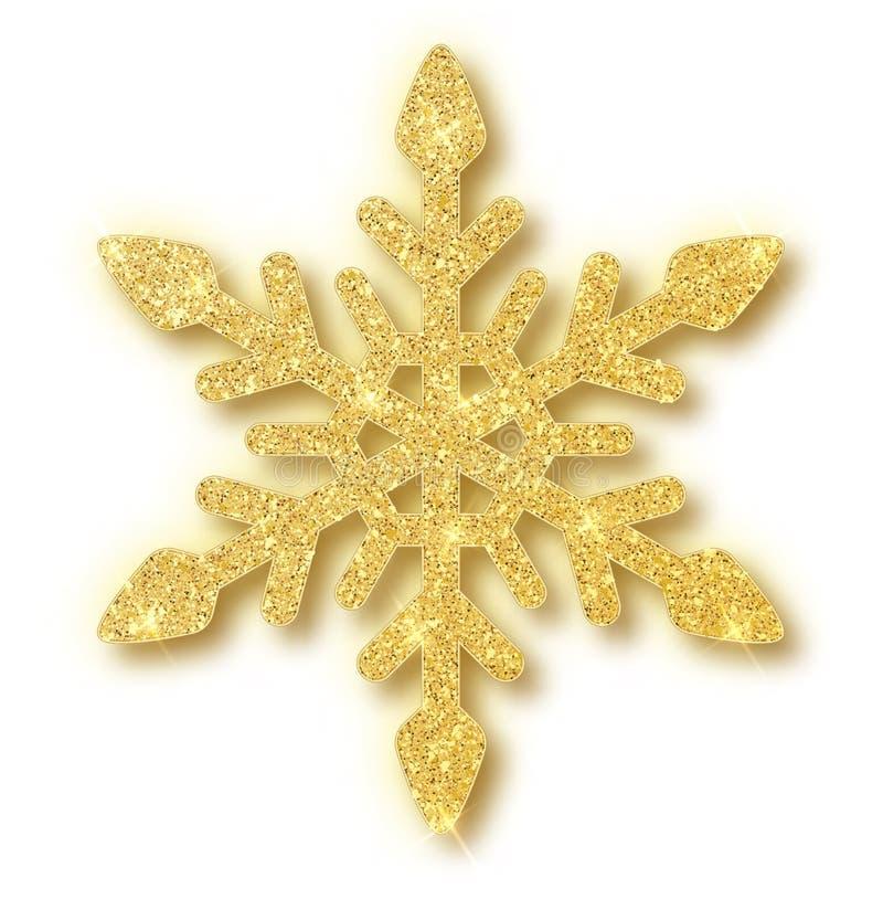 Flocon de neige de texture de scintillement d'or d'isolement sur le fond blanc Illustration de vecteur illustration stock
