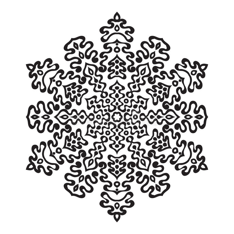Flocon de neige tiré par la main de griffonnages Style de mandala de Zentangle illustration stock
