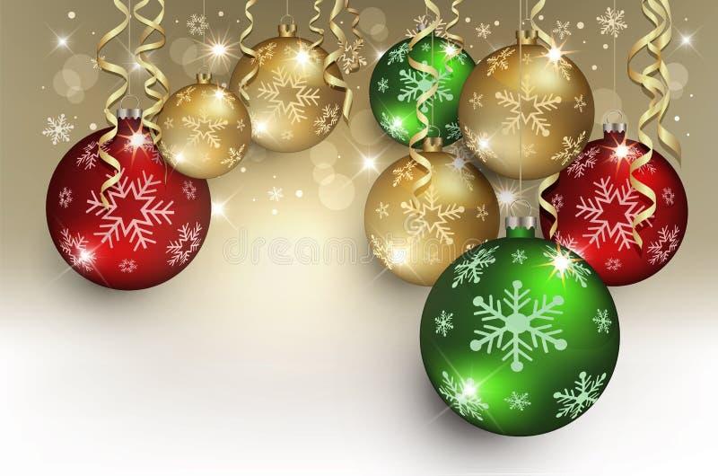 Flocon vert rouge de neige de fond d'or de carte de voeux de boules de Noël illustration de vecteur