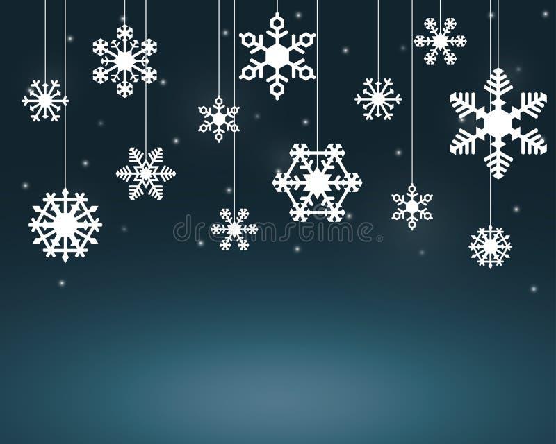 Flocons blancs de neige accrochant sur des ficelles illustration stock