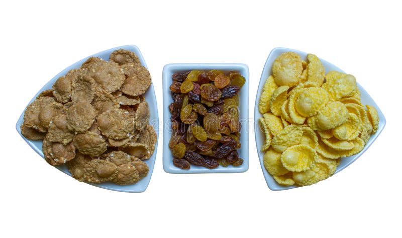 Flocons d'avoine avec le raisin sec, petit déjeuner de forme physique photographie stock