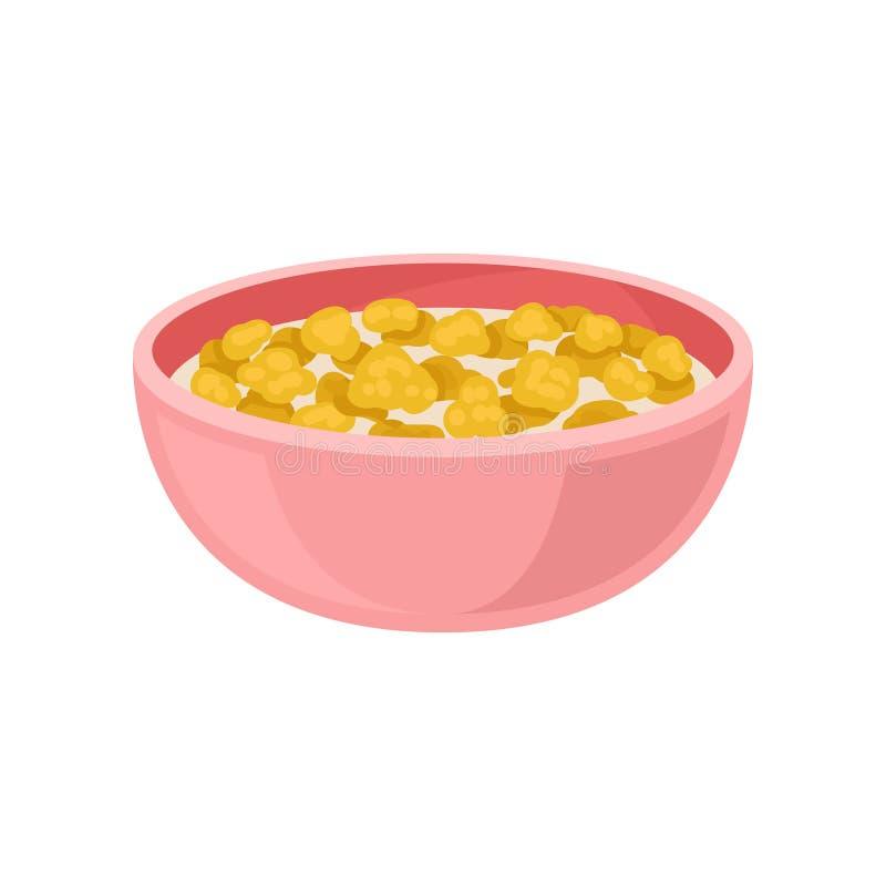 Flocons d'avoine savoureux avec du lait dans la cuvette rose Thème appétissant de nourriture de petit déjeuner Conception plate d illustration stock