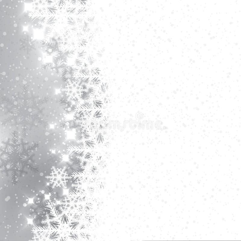 Flocons de neige abstraits d'argent d'hiver illustration stock