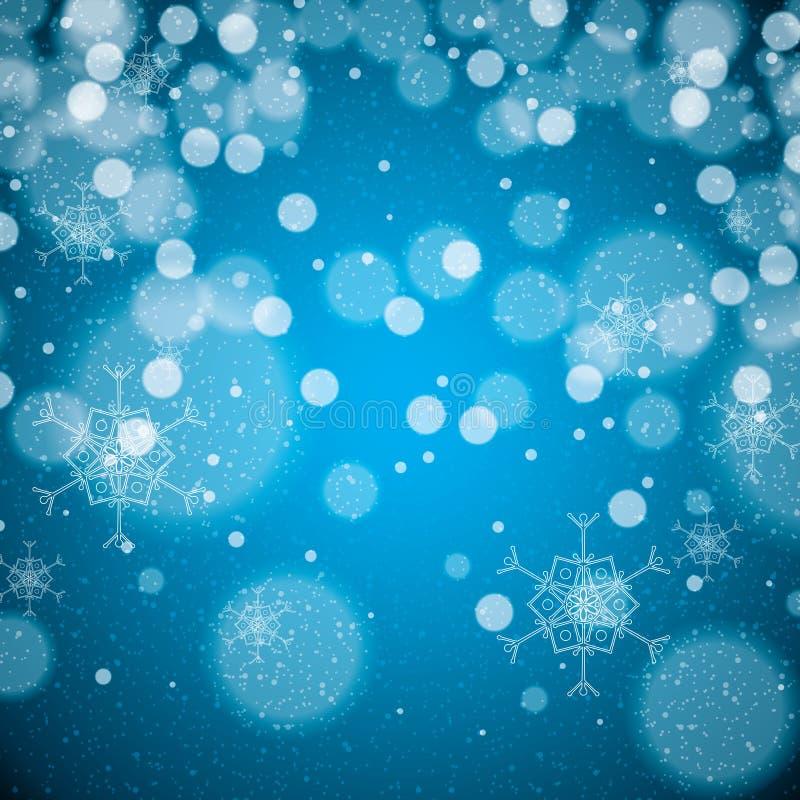 Flocons de neige abstraits de bleu d'hiver illustration stock