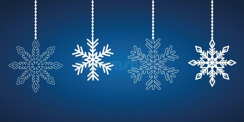 Flocons de neige accrochants blancs sur un fond bleu illustration stock