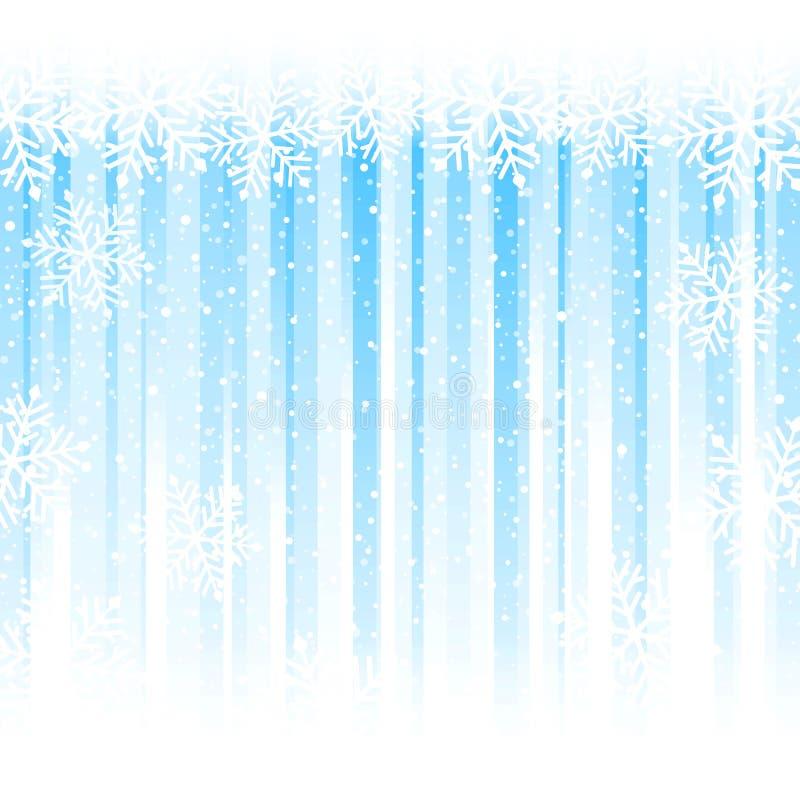 Flocons de neige au-dessus des rayures bleu-clair, fond abstrait d'hiver illustration stock