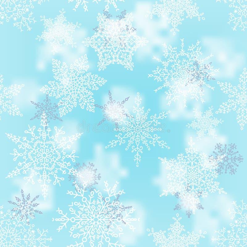 Flocons de neige blancs et argentés de Noël sur le fond de bleu de tache floue Modèle de vacances d'hiver Carte de voeux Vecteur illustration libre de droits