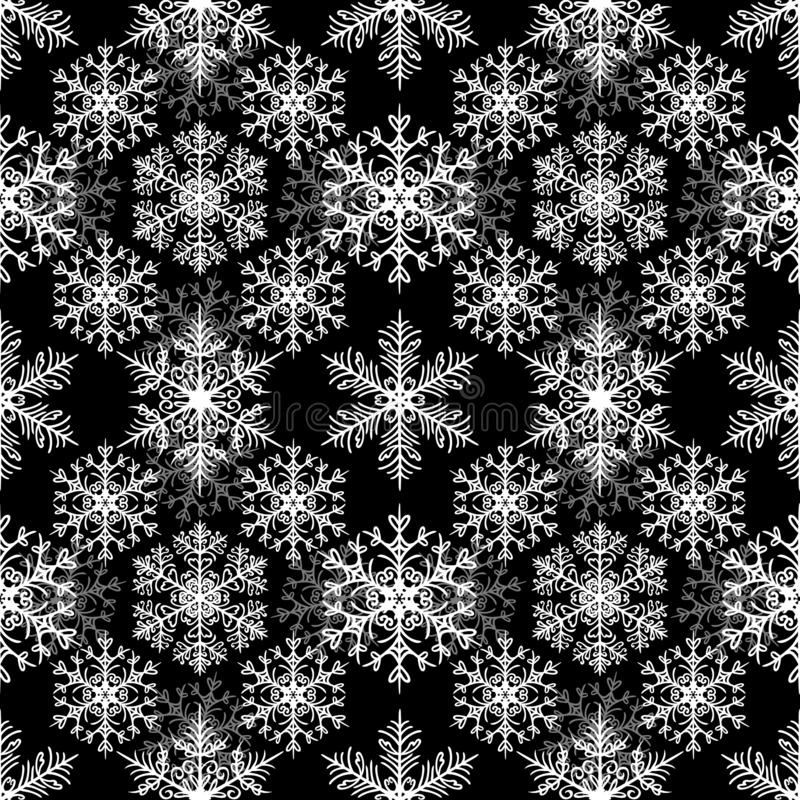 Flocons de neige blancs sur le fond noir configuration de Noël sans joint illustration de vecteur