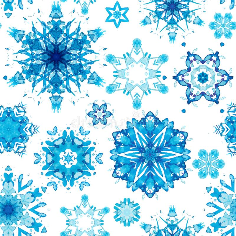 Flocons de neige bleus géométriques illustration de vecteur