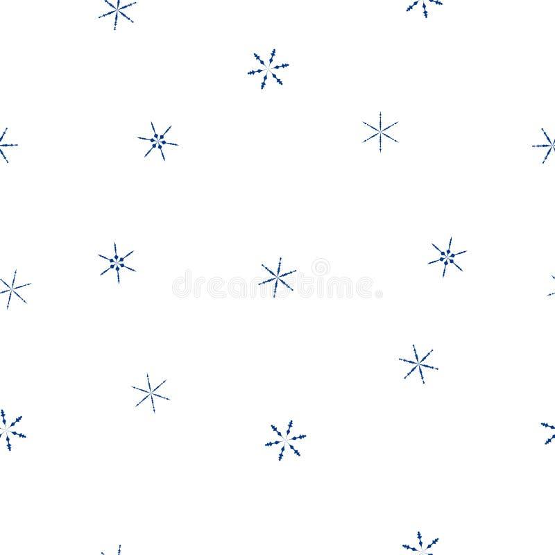 Flocons de neige bleus de modèle sans couture sur le blanc, vecteur ENV 10 illustration stock