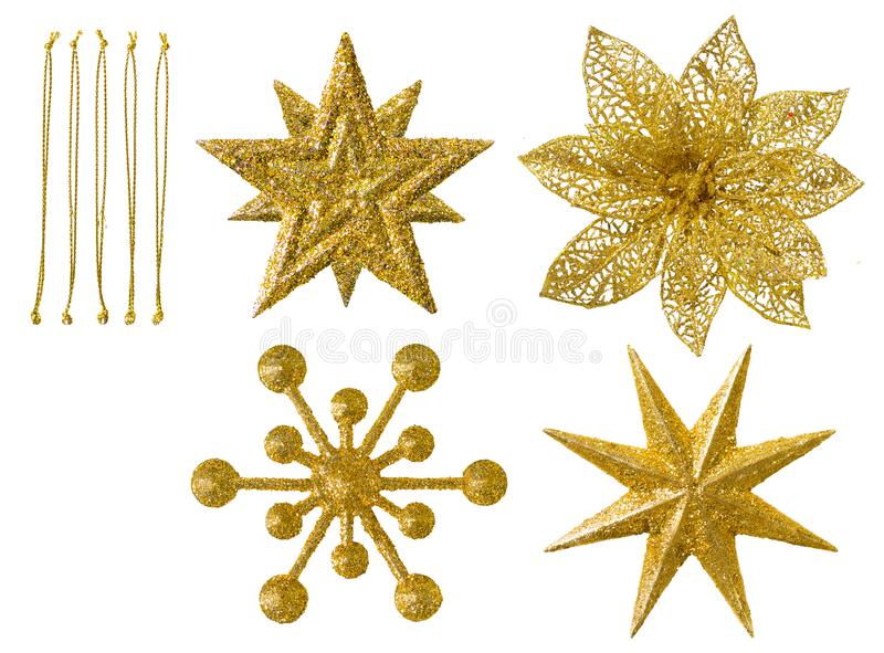 Flocons de neige, décoration accrochante d'isolement de Noël, flocons de neige photographie stock libre de droits