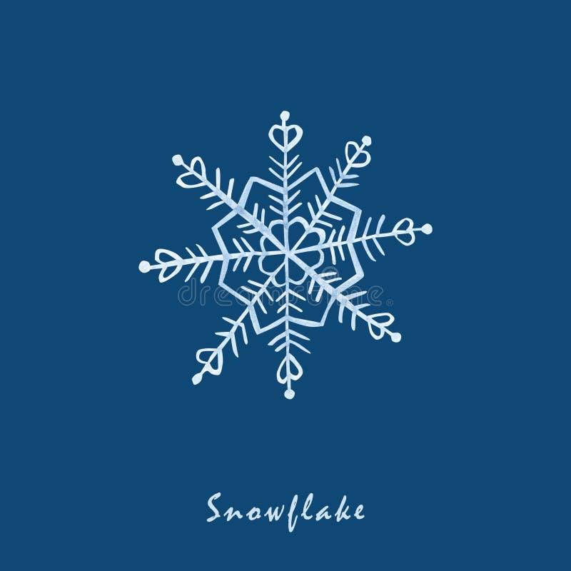 Flocons de neige d'aquarelle Flocon de neige bleu-clair sur un fond bleu Vacances d'hiver papier peint, Noël et main de nouvelle  illustration de vecteur