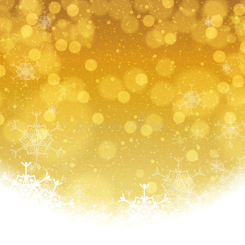 Flocons de neige d'or d'hiver abstrait illustration libre de droits