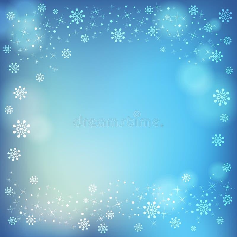 Flocons de neige d'hiver et fond mou de points culminants illustration stock